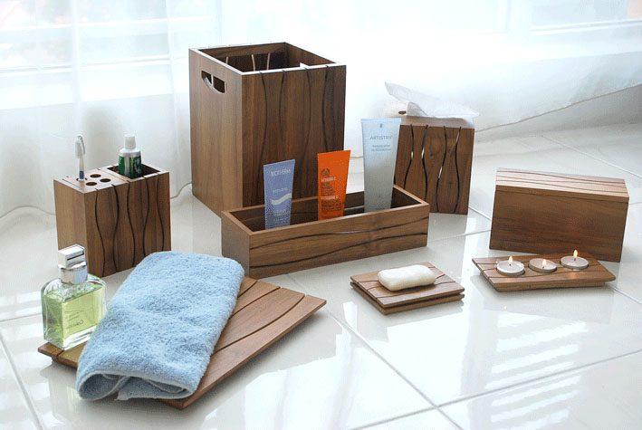 accesorios de ba o en madera