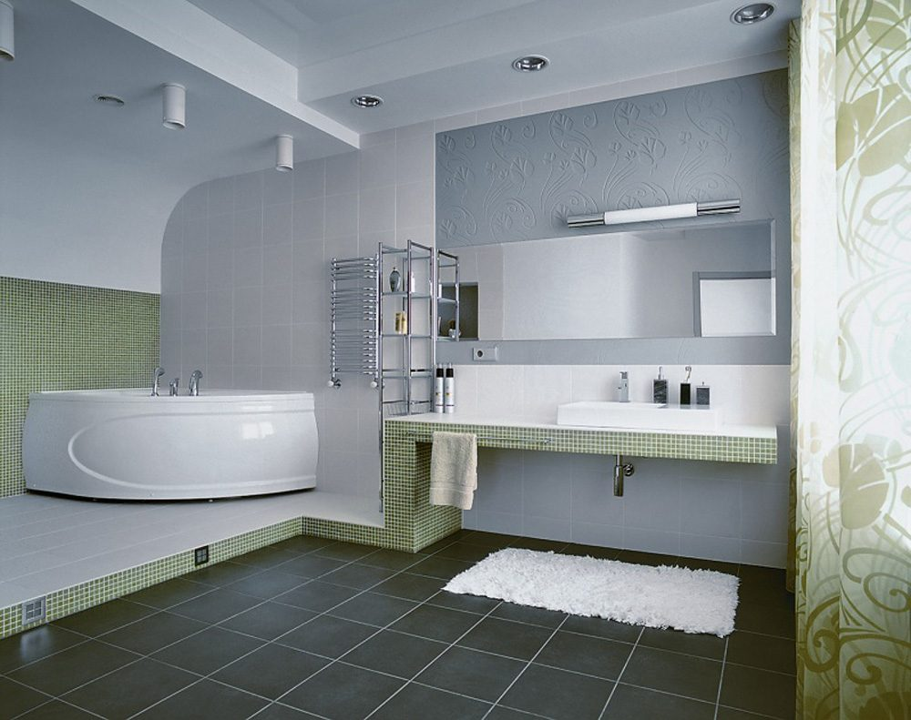 Galer a de im genes cuartos de ba o modernos for Green and gray bathroom designs