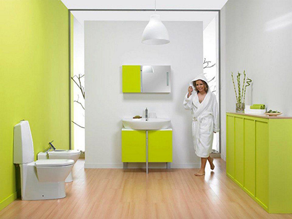 Baño de diseño en color verde :: Imágenes y fotos