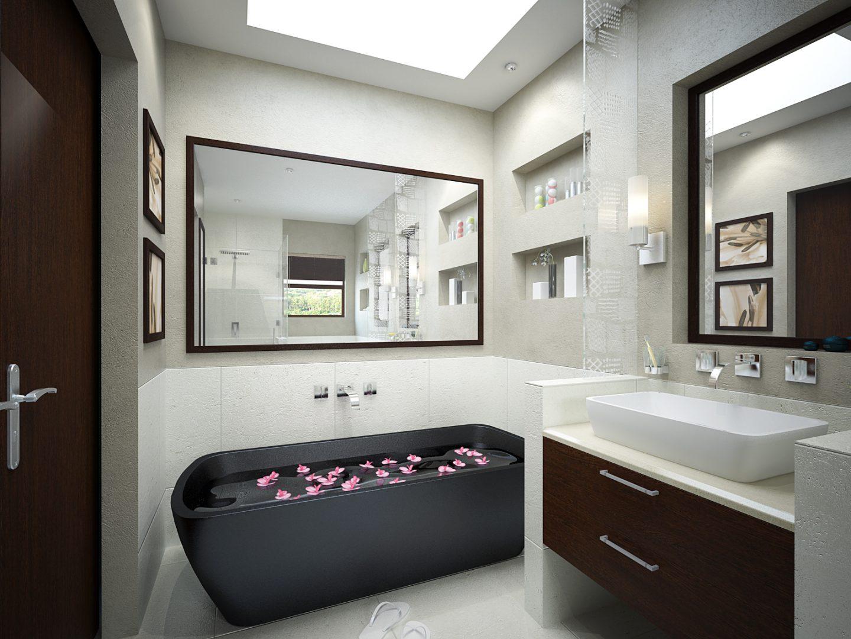Baño moderno de tonos negros :: Imágenes y fotos