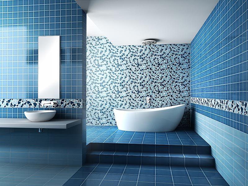 Cuartos de ba o coloridos - Azulejos azules para bano ...