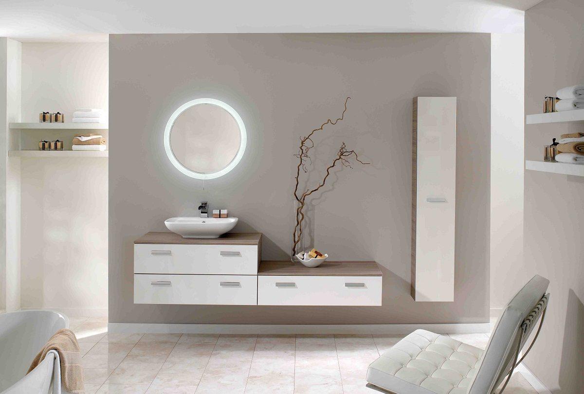 Espejo circular para una iluminaci n moderna im genes y - Espejos con luces para banos ...