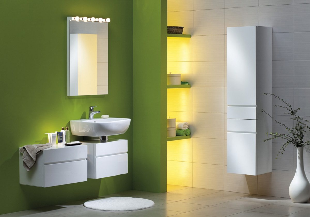 Iluminacion De Un Baño:Green Bathroom